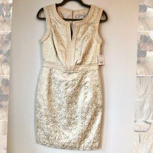 Liz Claiborne Champagne Metallic Sheath Dress Sz 8